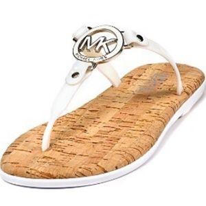 Michael Kors White Jelly Cork Charm Sandal